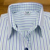 Grenouille Ladies Long Sleeve Blue and Green Thin Stripe Easy Care Cotton Shirt